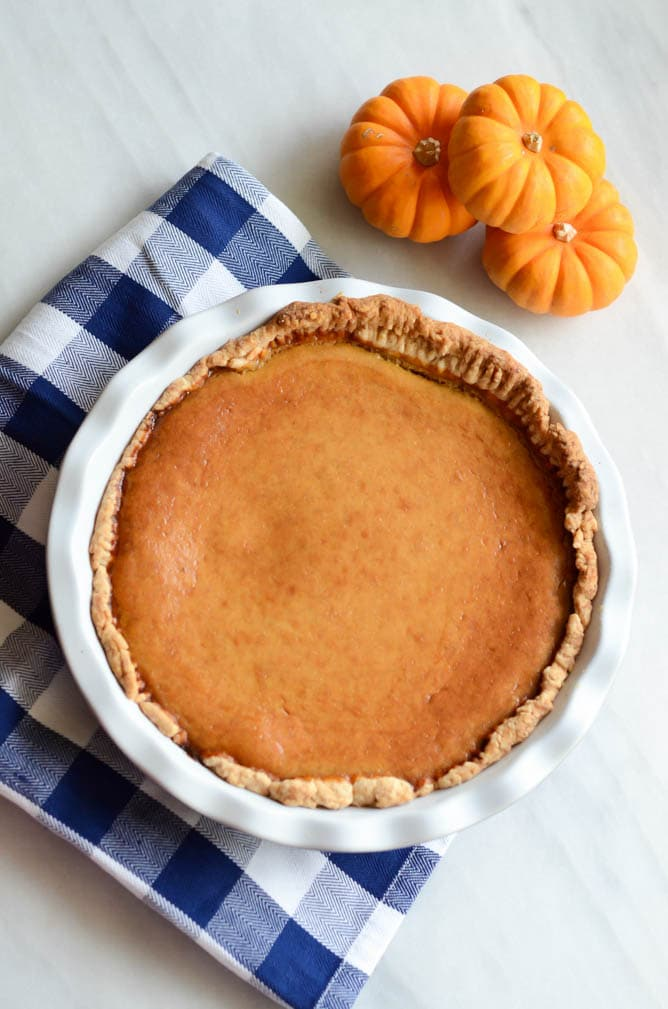Cream Cheese-y Pumpkin Pie | CaliGirlCooking.com