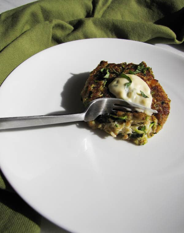 Crab Zucchini Stuffing Cakes with Lemon-Basil Aioli | CaliGirl Cooking