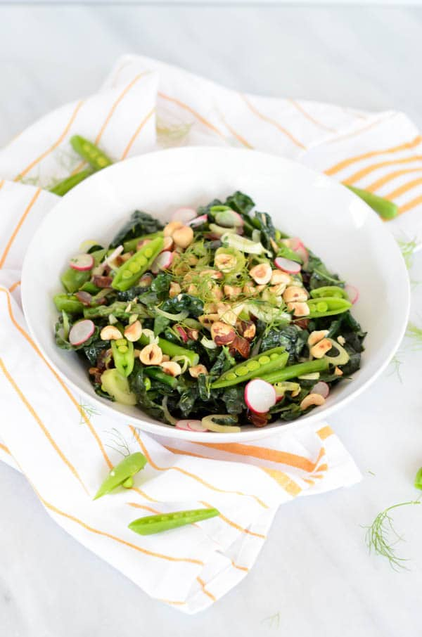 Spring Kale Salad with Honey-Tahini Dressing | CaliGirl Cooking