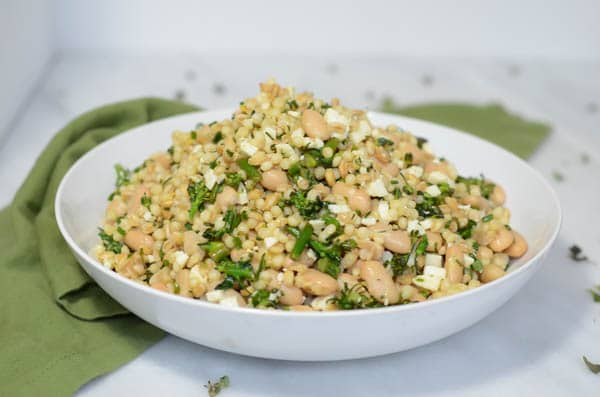 Herbed Grain Salad with Broccoli Rabe and White Beans | CaliGirl Cooking