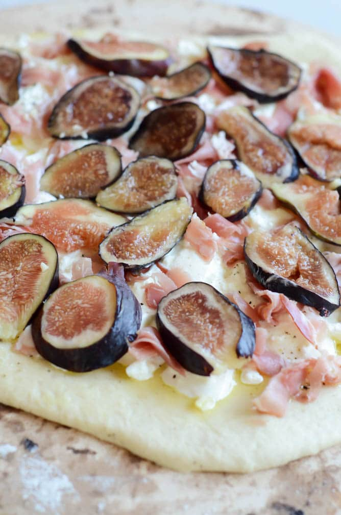 Fresh Fig, Prosciutto and Burrata Pizza with Truffle Honey | CaliGirl Cooking