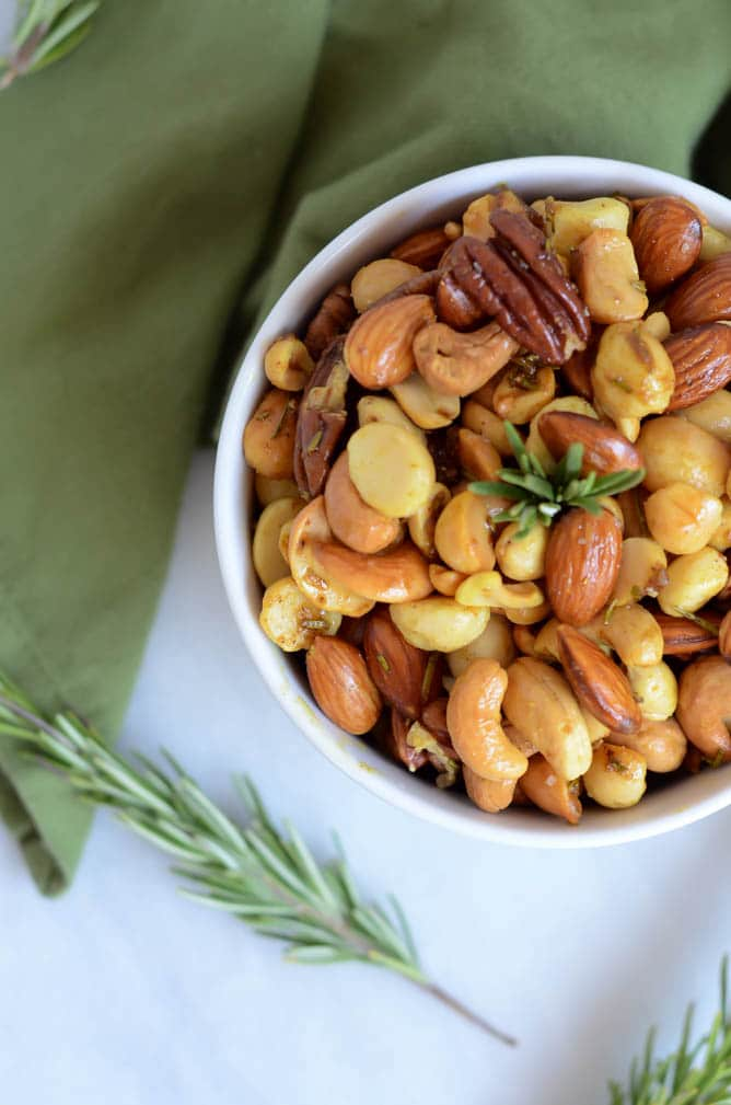 Curry-Rosemary Roasted Mixed Nuts | CaliGirl Cooking