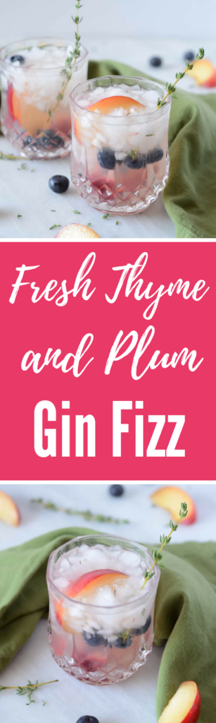 Fresh Thyme and Plum Gin Fizz | CaliGirlCooking.com