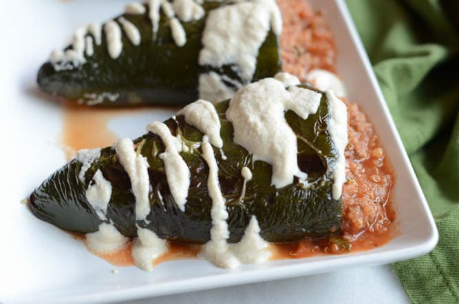 Spicy Stuffed Pasilla Peppers with Cashew Cream Sauce | CaliGirl Cooking