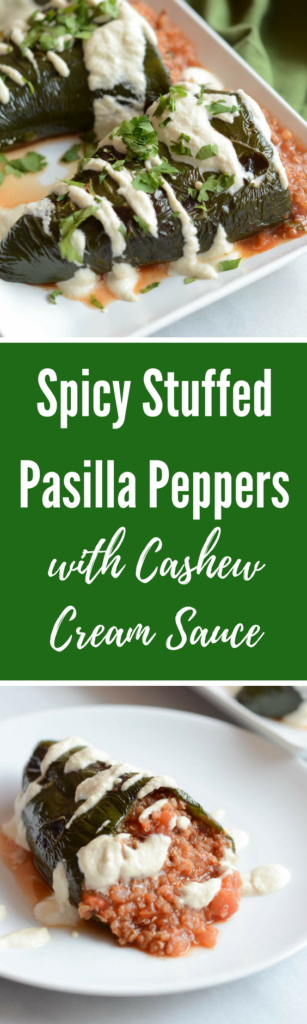 Spicy Stuffed Pasilla Peppers with Cashew Cream Sauce | CaliGirlCooking.com
