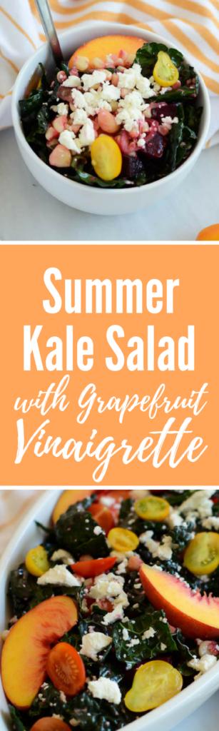 Summer Kale Salad with Grapefruit Vinaigrette | CaliGirlCooking.com