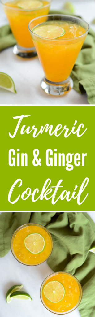 Turmeric Gin and Ginger Cocktail | CaliGirlCooking.com