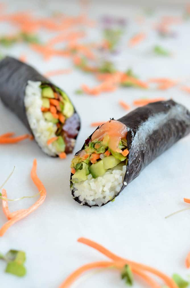 Ahi and Smoked Salmon Sushi-Ritos | CaliGirl Cooking