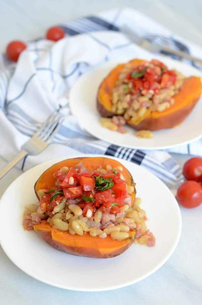 Bruschetta, White Bean and Pancetta Stuffed Sweet Potatoes | CaliGirlCooking.com