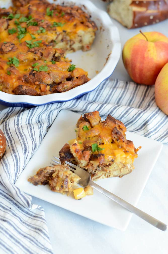 Savory Pretzel Bread Pudding with Cheddar, Apples and Sausage | 21 Recipes to Get Hygge With on CaliGirlCooking.com
