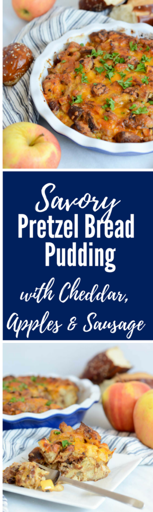 Savory Pretzel Bread Pudding with Cheddar, Apples and Sausage | CaliGirlCooking.com