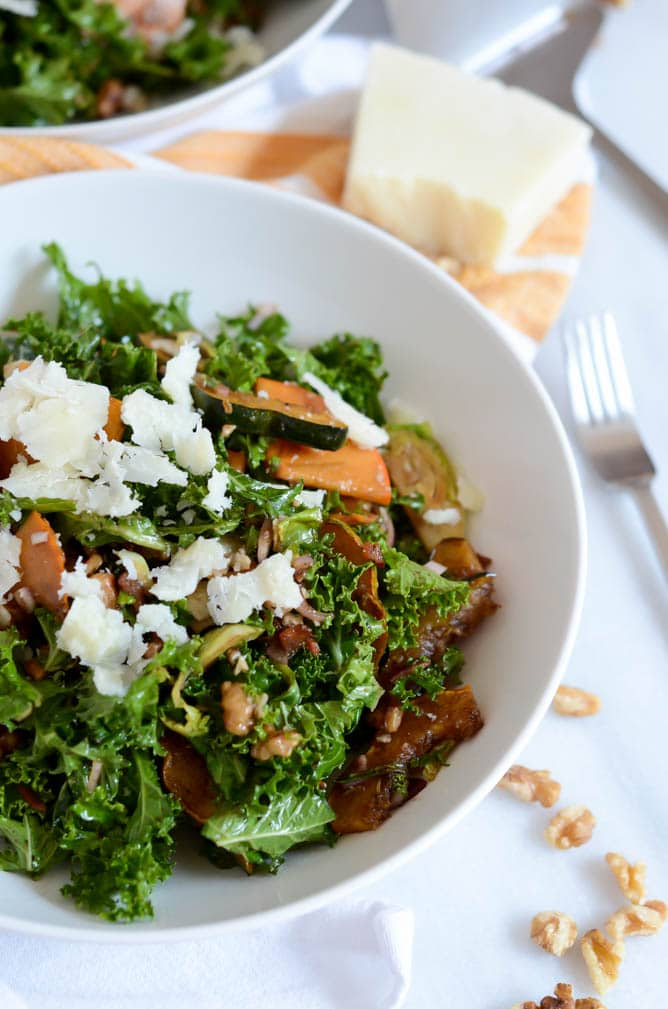 Fall Kale Salad with Easy Balsamic Vinaigrette | CaliGirlCooking.com