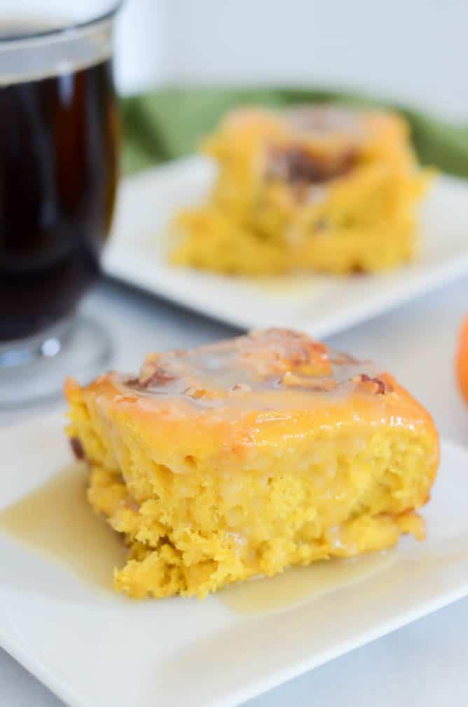 Pumpkin Praline Cinnamon Rolls with Bourbon Cream Cheese Frosting   CaliGirlCooking.com