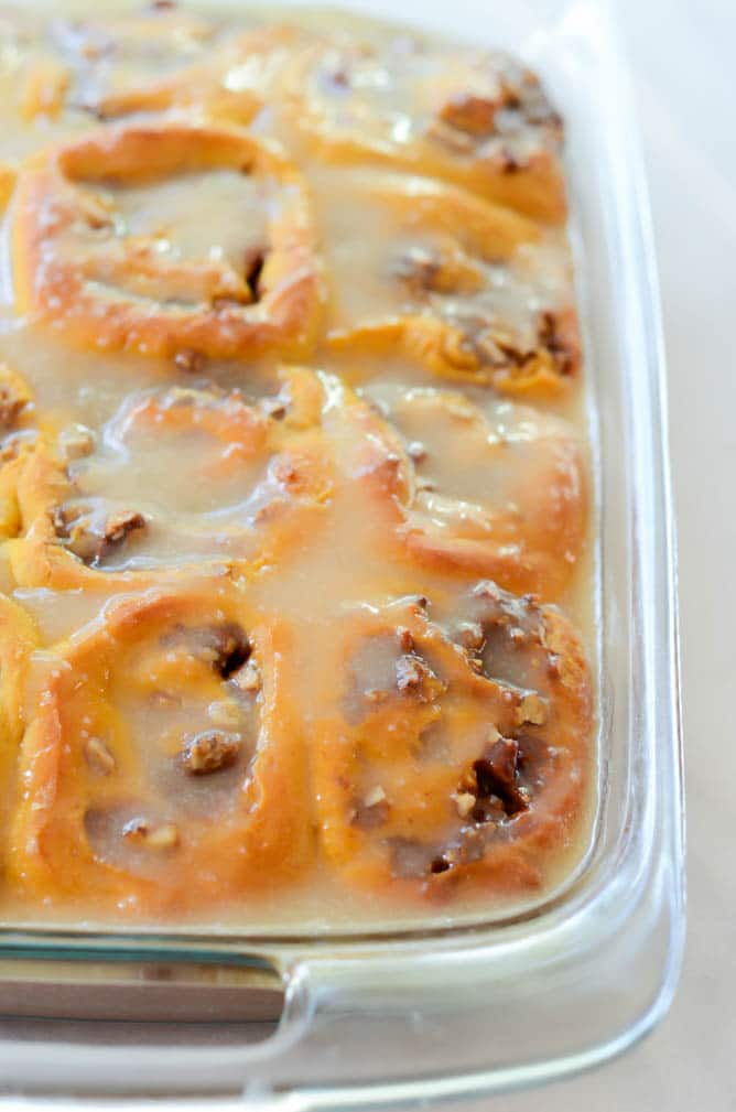 Pumpkin Praline Cinnamon Rolls with Bourbon Cream Cheese Frosting | CaliGirlCooking.com