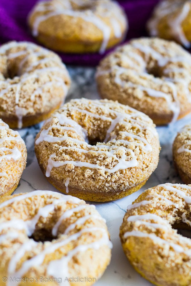 Baked Pumpkin Streusel Doughnuts by Marsha's Baking Addiction | 22 Quick & Easy Halloween Recipes at CaliGirlCooking.com