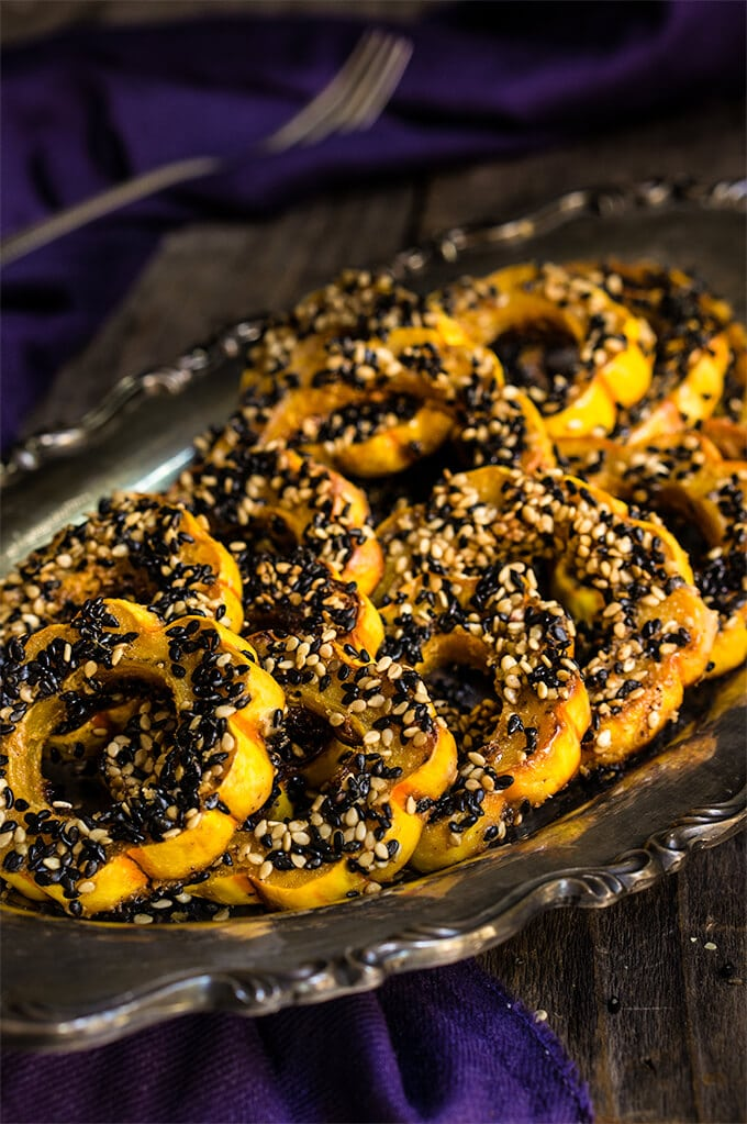 Sesame-Roasted Maple Chipotle Delicata Squash | 22 Quick & Easy Halloween Recipes at CaliGirlCooking.com
