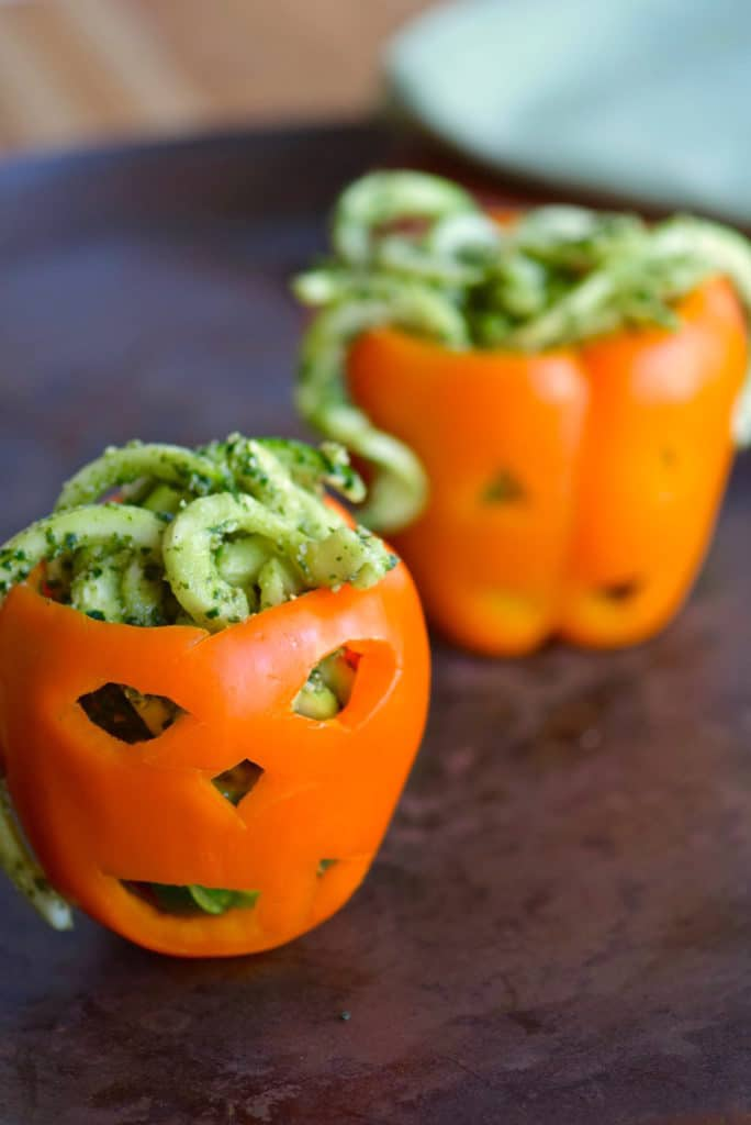 Zoodles with Pumpkin Kale Pesto | 22 Quick & Easy Halloween Recipes at CaliGirlCooking.com