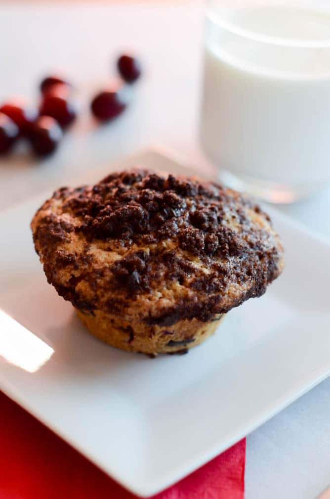 Cranberry Chocolate Chunk Muffins with Chocolate Streusel | CaliGirlCooking.com
