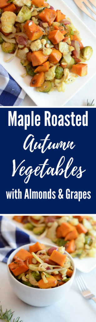 Maple Roasted Autumn Vegetables with Almonds and Grapes | CaliGirlCooking.com