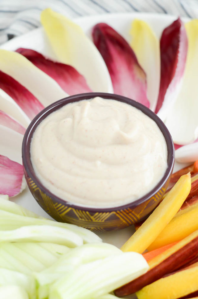 Best EVER Winter Vegetable Platter Garlicky Cauliflower Almond Butter Sauce   CaliGirlCooking.com