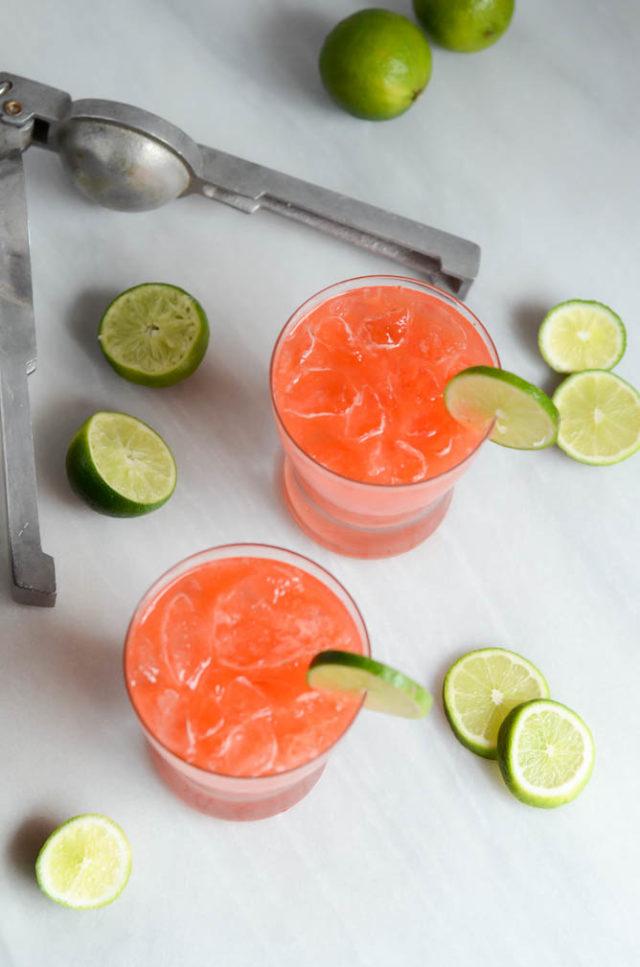 Smoky Pickled Strawberry Margaritas   CaliGirlCooking.com