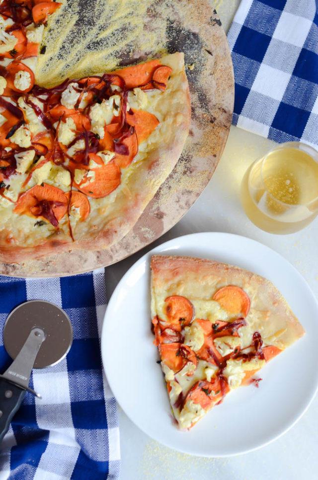 Carrot, Sweet Potato and Cauliflower Pizza with Fontina | CaliGirlCooking.com
