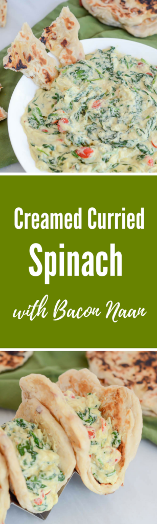 Creamed Curried Spinach with Bacon Naan | CaliGirlCooking.com