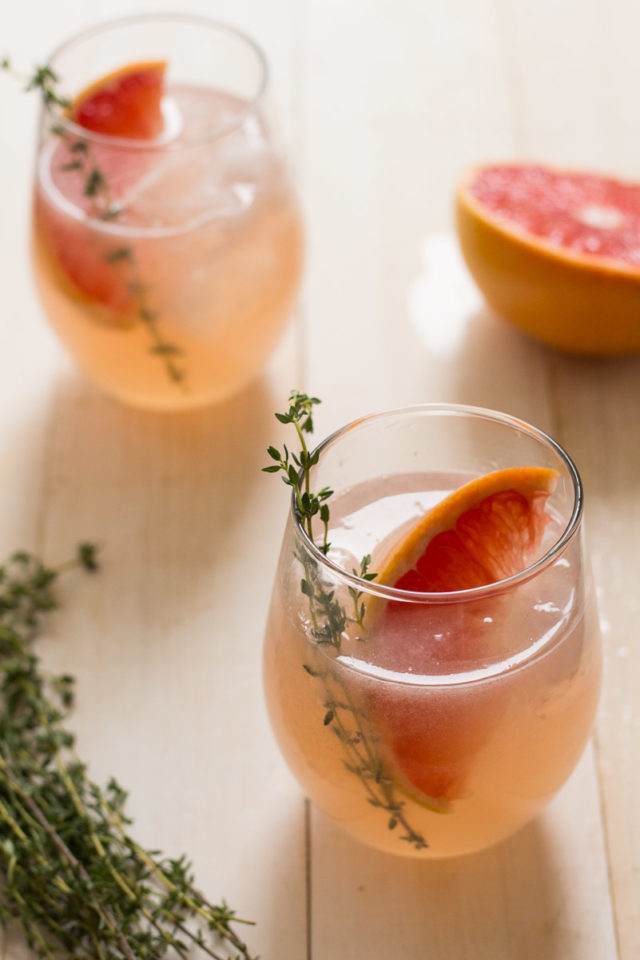 Grapefruit Thyme Elderflower Cocktail | 21 Valentine's Day Cocktails and Mocktails on CaliGirlCooking.com