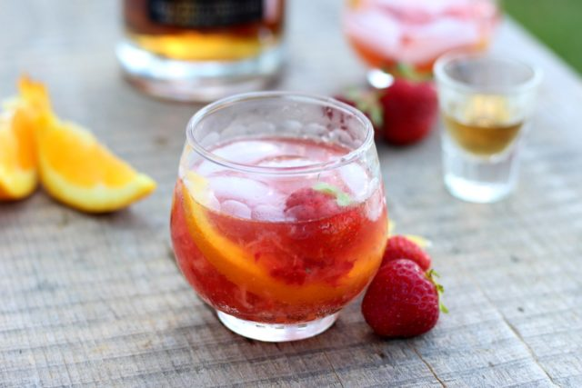 Strawberry Old-Fashioned | 21 Valentine's Day Cocktails and Mocktails on CaliGirlCooking.com