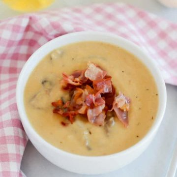 Caramelized Leek and Parsnip Soup with Crispy Prosciutto and Mushrooms   CaliGirlCooking.com