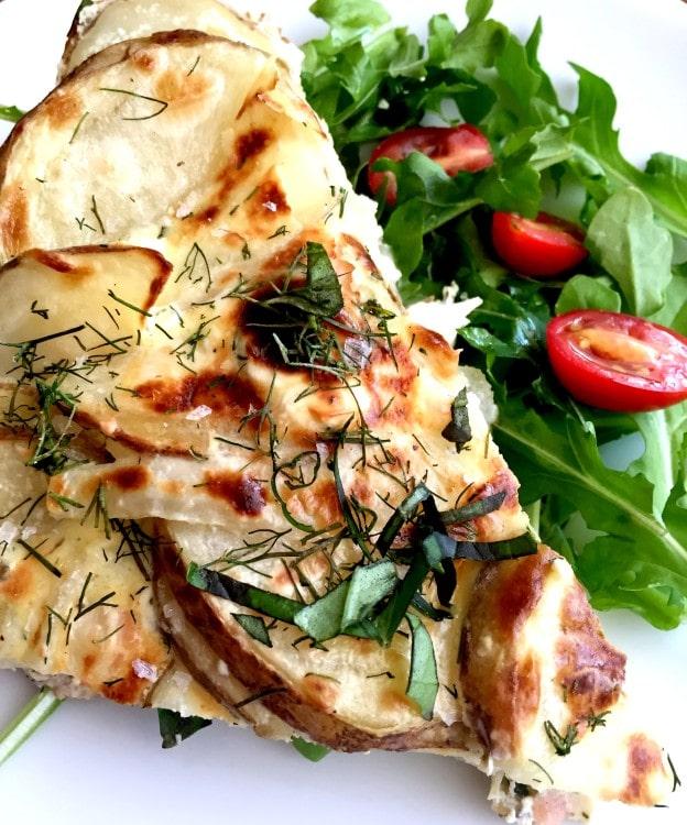Smoked Salmon & Fresh Herb Spanish Tortilla | 22 Totally Achievable Thanksgiving Recipes on CaliGirlCooking.com