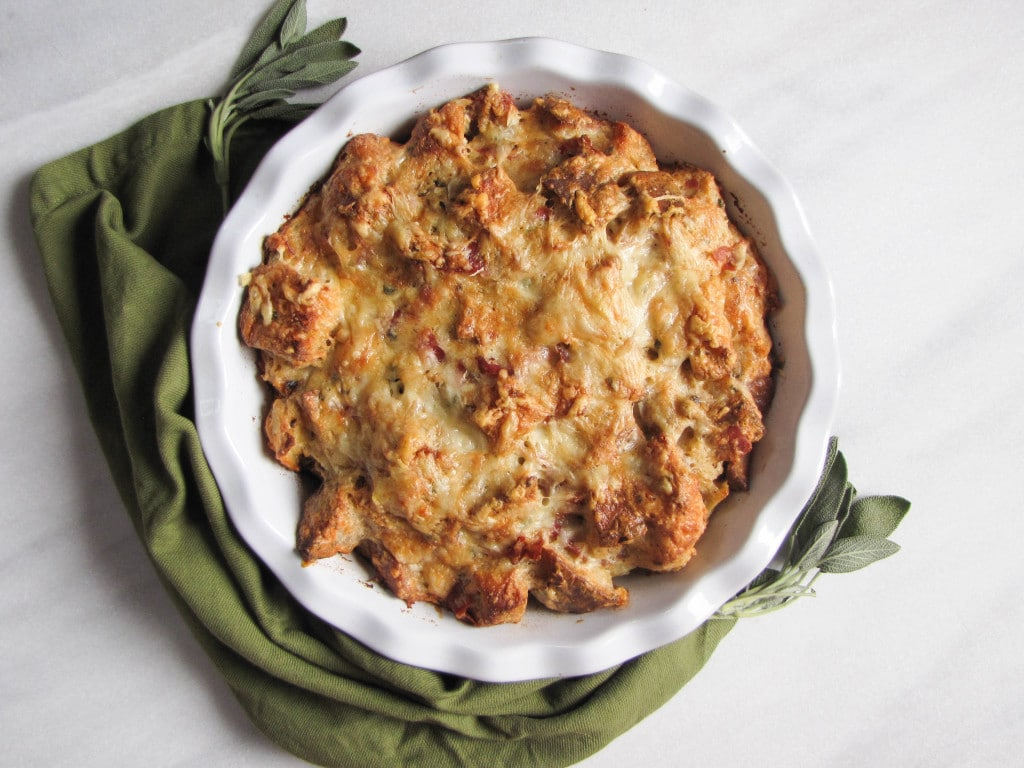 Savory Prosciutto Sage Gruyere Bread Pudding | 22 Totally Achievable Thanksgiving Recipes on CaliGirlCooking.com