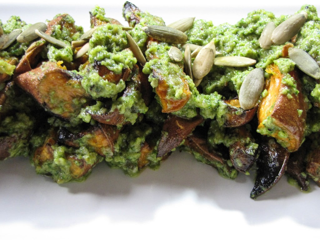 Oven Roasted Sweet Potatoes with Pepita Pesto | 22 Totally Achievable Thanksgiving Recipes on CaliGirlCooking.com