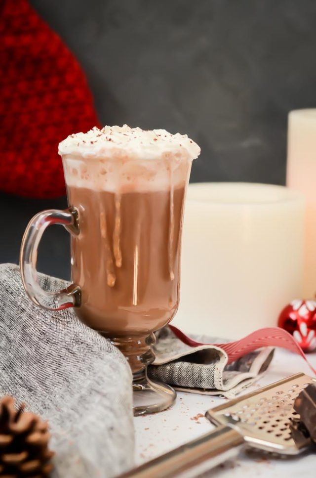 This Spiked Almond Milk Eggnog Hot Chocolate is the perfect holiday drink - much lighter than regular eggnog, kicked up a notch with chocolate and rum!