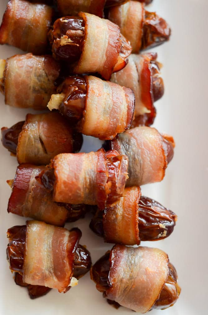 Bacon Wrapped Dates | 22 Totally Achievable Thanksgiving Recipes on CaliGirlCooking.com