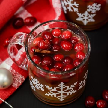 This 5-Minute Boozy Spiced Hot Apple Cider is an easy, festive holiday cocktail dressed up with fresh cranberries and cinnamon sticks.
