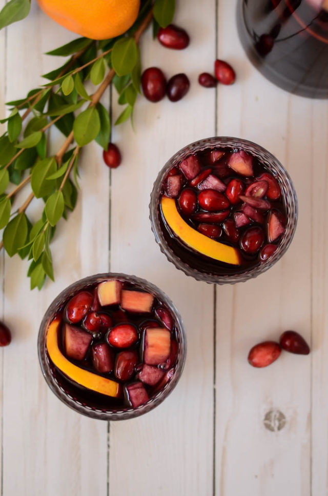 This Festive Holiday Sparkling Red Sangria is the perfect batch cocktail for Christmas and New Year's!