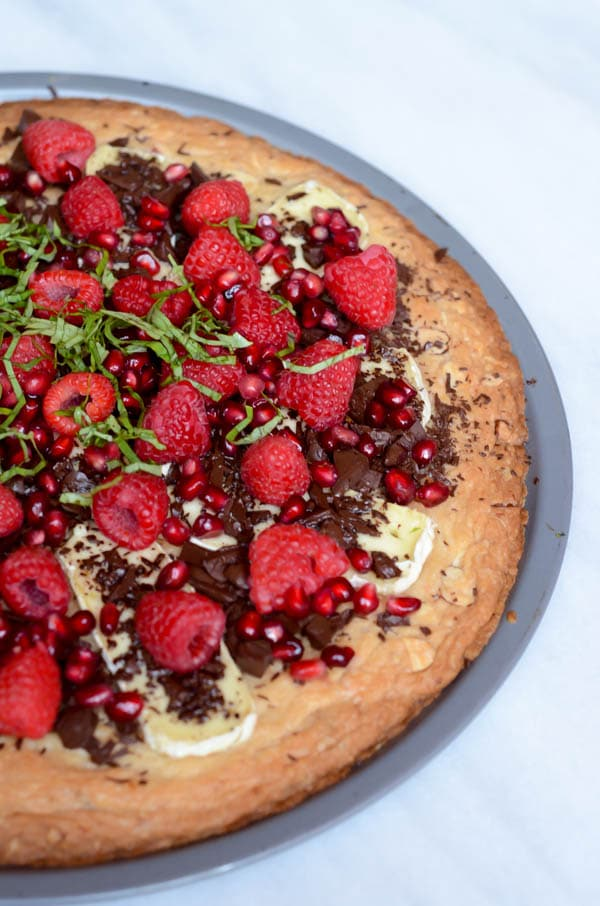 Chocolate Brie Dessert Pizza with Almond-Orange Shortbread Crust | CaliGirl Cooking