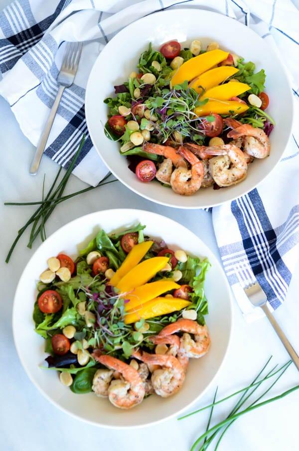 Mango Shrimp Salad with Champagne Vinaigrette | CaliGirl Cooking