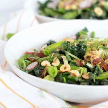 Spring Kale Salad with Honey-Tahini Dressing | CaliGirl Cooking