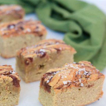 Tahini Blondies with Whiskey Date Caramel & Sea Salt | CaliGirl Cooking