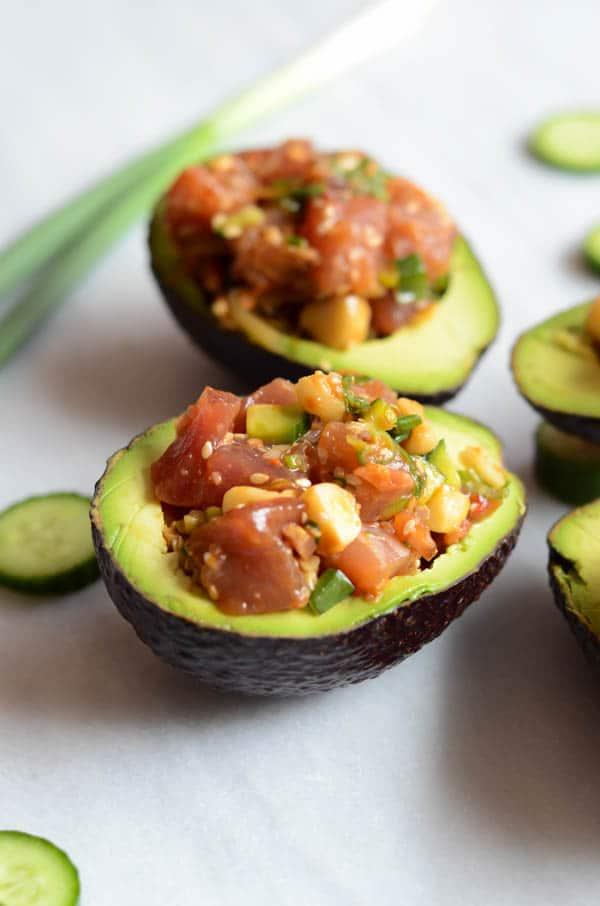 Ahi Poke Salad with Macadamia Nuts | CaliGirl Cooking