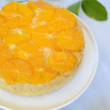 Honey-Orange Upside Down Cake with Honey-Bourbon Whipped Cream | CaliGirl Cooking