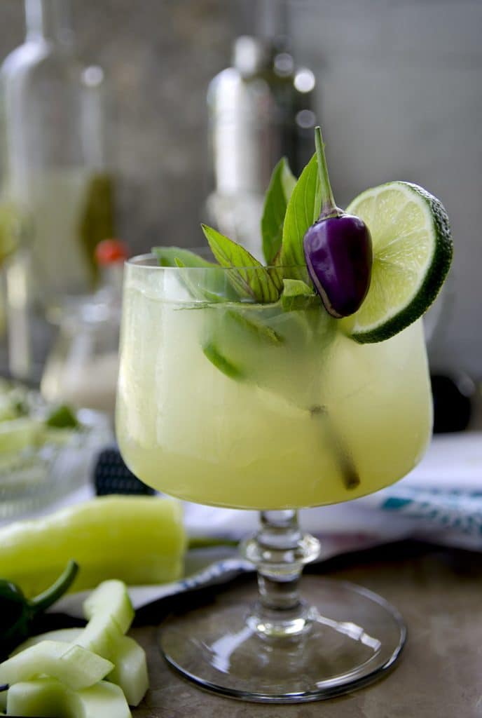 Spicy Thai Basil Cucumber Cocktail | Top 10 Memorial Day Cocktails from CaliGirl Cooking