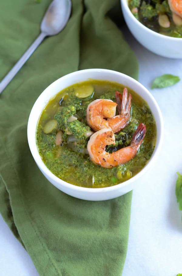 Spring Green Minestrone with Basil-Cilantro Pistou | CaliGirl Cooking