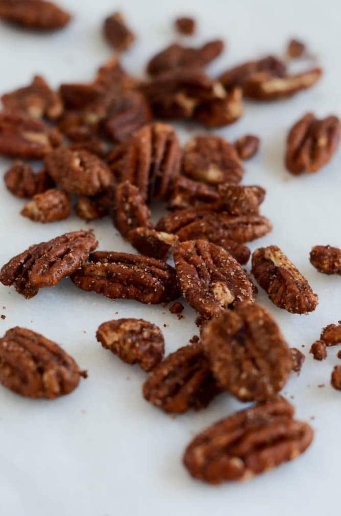Banana Peach Breakfast Quinoa with Cinnamon Sugar Pecans | CaliGirl Cooking