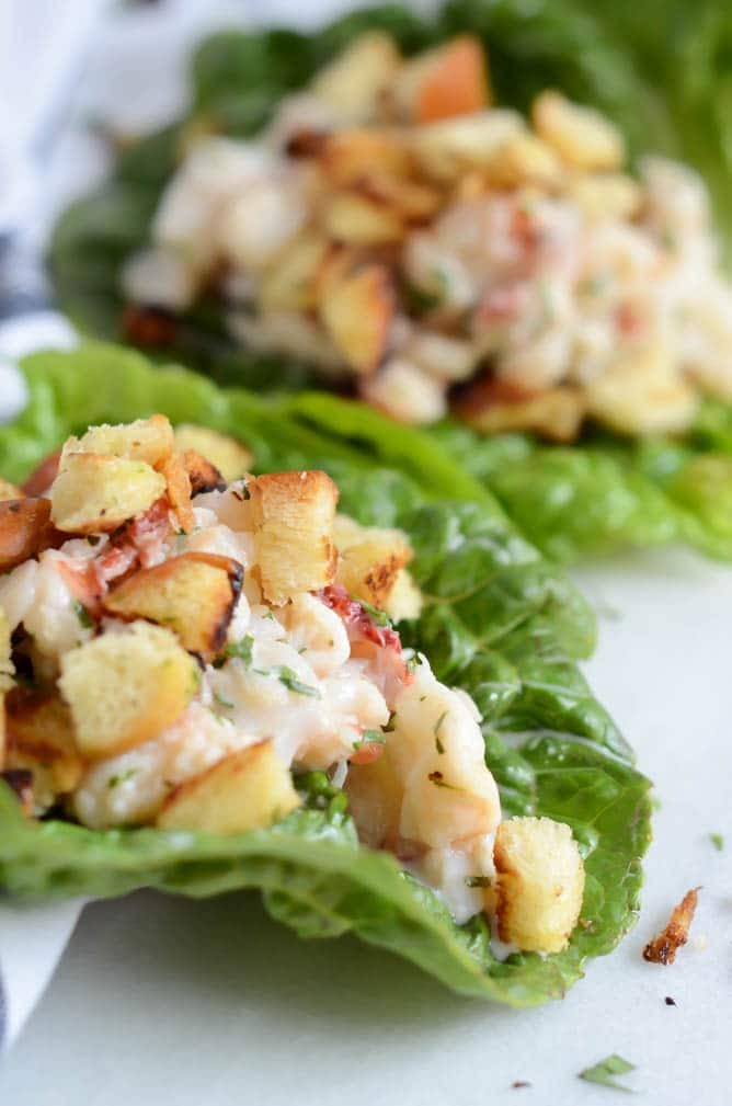 Lobster Roll Lettuce Wraps with Brioche Crumbles | CaliGirl Cooking