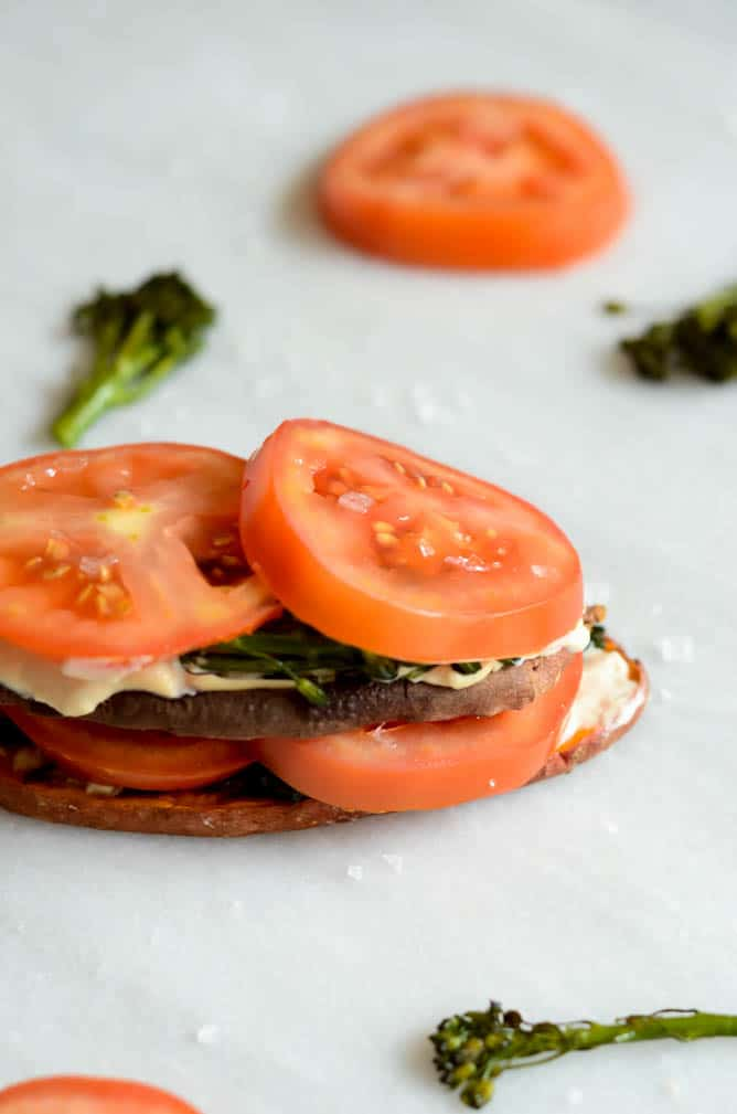 Sweet Potato Toast with Broccoli Rabe, Tomato and Cashew Cream | CaliGirl Cooking