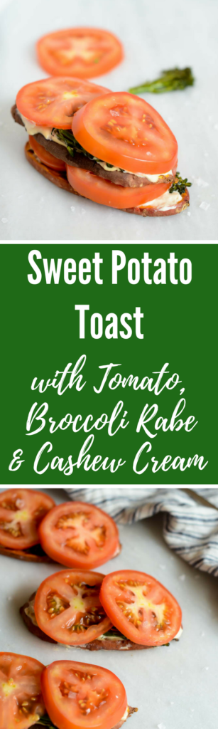 Sweet Potato Toast with Tomato, Broccoli Rabe and Cashew Cream | CaliGirlCooking.com
