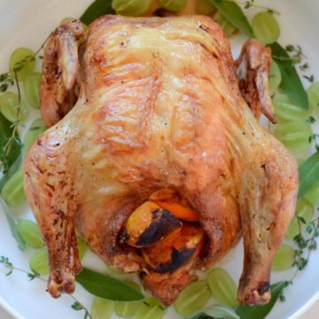 Champagne Roast Chicken with Grapes and Shallots | CaliGirlCooking.com